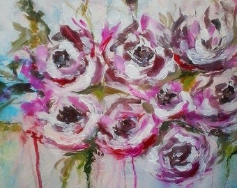 Abstract flowers painting titled pink peons 16x20 Abstract Acrylic Canvas Original Painting