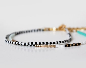 Black and White Miyuki Seed Bead Bracelet / 16k Gold Plated Bracelet / Wish Bracelet / Beaded Friendship Bracelet / Delicate Bracelet