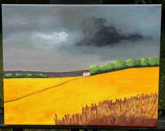 SUDDEN SUMMER SHOWER original acrylic landscape of golden fields and storm clouds 11 x 14 in.