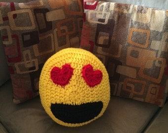Crochet emoji pillow, smiley face pillow, emoji heart eyes pillow, emoji throw pillow
