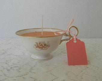 Vintage Tea Cup, Soy Candle, Radford's Crown English Bone China,  Vanilla Rose, Free Shipping