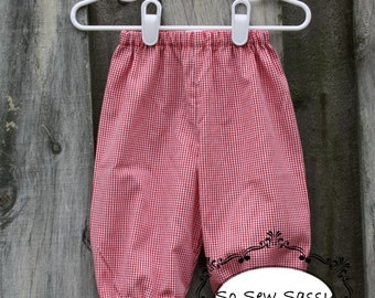 Red or blue gingham baby boy pants, bubble pants, bloomer pants