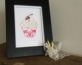 Quilling Paper Pink and White Cupcake Home Decor, Cherry Cupcake Decoration, Strawberry Shortcake Art, Pink Bakery Decoration, Baby Girl Art