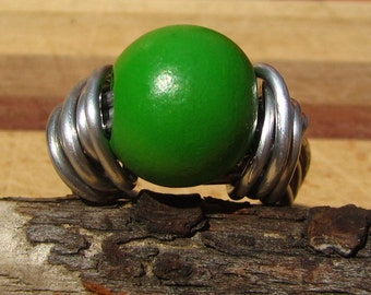 Green Wooden Bead Ring