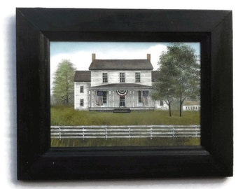 American Home, Billy Jacobs, Farmhouse Picture, Art Print, Country Decor, Wall hanging, Handmade, 7X9,  Custom Wood Frame, Made in the USA