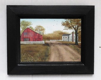 Summer in the Country,  Billy Jacobs, Flag Barn Picture, Primtive Home Decor, Wall Hanging, Handmade, 7X9, Custom Wood Frame, Made in USA
