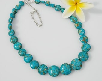 Turquoise blue graduated chunky necklace stone necklace beaded jewelry