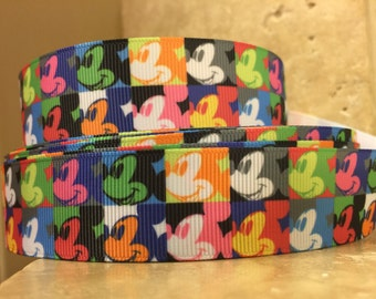 5 YDS Mickey of Many Colors Ribbon