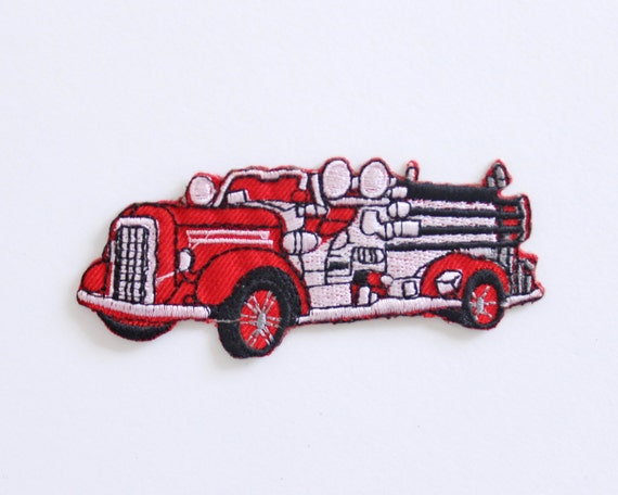 red fire truck vintage patch/ embroidered fireman car patch/