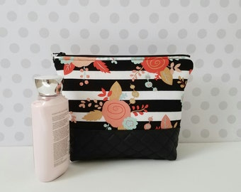 Floral on Black and White Stripes Large Makeup Pouch