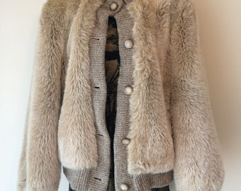 Vintage Faux Fur Jacket with Knit Trim with Buttons