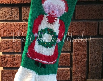PDF for Vintage Mrs. Claus Christmas Stocking PATTERN