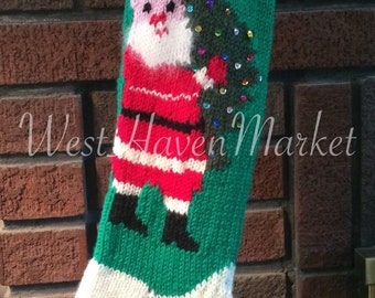 Kit for Vintage Personalized Hand Knit Santa with Christmas Tree Stocking with 100% Pure Wool