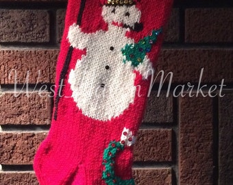 Kit for Vintage Personalized Hand Knit Snowman Christmas Stocking with 100% Pure Wool