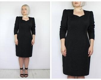 Vintage 1980's Black Bodycon Midi Dress 14 16