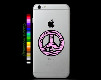 Zebra Peace Sign Phone Decal