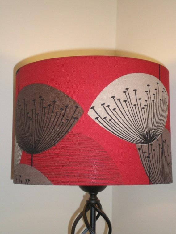 Handmade Lightshade - Sandersons - Dandelion Clocks - Red