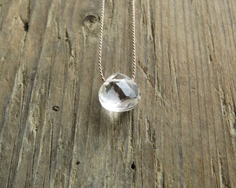 Clear quartz  necklace. Crystal rock  necklace. Minimalist  clear quartz briolette necklace. Gift for women.  April birthstone