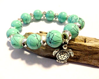 Sea Turtle Charm Bracelet, Turquoise Blue Beaded Bracelet, Upcycled Jewelry, Sea Turtle Jewelry, Stacking Stretch Bracelet