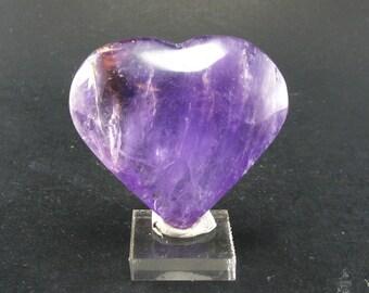 "Large Gem Amethyst Heart From Brazil - 2.1"""