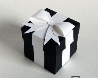 Black and White Favor Box - Wedding Favor Boxes - Black Favor Boxes - Paper Boxes