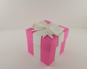 Hot Pink Favor Box with Bow  / Hot Pink Favor Box / Pink Gift Box