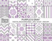 Digital Paper: Purple and Gray Graphic Design Patterns, Background Images, Purple Wallpapers, Floral, Flower Burst, Damask, Stripe, Chevron