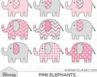 Pink elephant clip art: pink animal clipart, pink safari, baby girl graphics, pink zoo clipart, cute animals, digital download, pink chevron