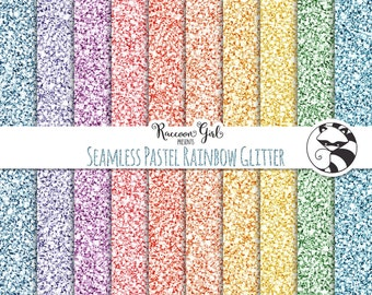 Seamless Pastel Rainbow Glitter Digital Paper Set - Personal & Commercial Use