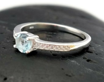 Size 8 Halo Sterling Silver Sky Blue Topaz Ring - Sky Blue Topaz Silver Ring - 925 Blue Topaz Ring - December Birthstone Ring -Gemstone Ring
