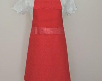 LACE APRON, Women Apron, Full Apron Gorgeous Handmade Red, Polkadot and Linen Apron