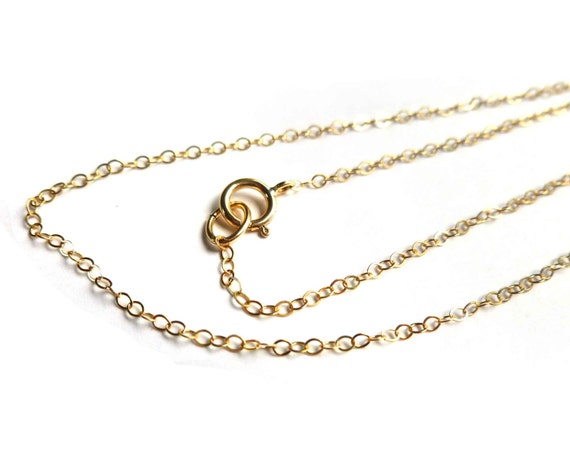 Solid 14k Gold Necklace 1.30mm Flat Cable Chain Necklace