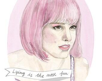 Closer Alice portrait print illustration Natalie Portman
