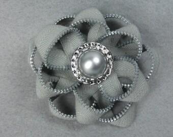 Zipper Flower Brooch - Gray Flower Pin, Upcycled, Recycled, Repurposed, Zipper Jewelry, Zipper Pin, Zipper Brooch, Zipper Art
