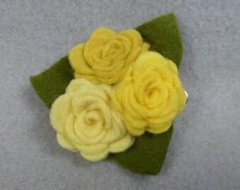 Yellow Flower Barrette - Felt Flower Clip - Felt Barrette - Felt Clip - Flower Hair Clip - Artificial Flower - Fake Flower - Floral