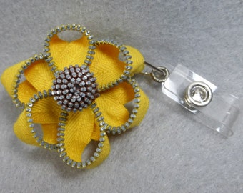 Yellow Flower ID Badge Reel -Zipper-Name Badge Holder -Upcycled-Recycled - Repurposed - ID Badge Holder - Retractable Badge Reel -Badge Clip