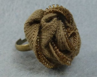 Brown Flower Ring - Zipper Ring - Upcycled - Recycled - Repurposed - Floral - Adjustable Ring - Zipper Flower - Zipper Rose - Womens Ring