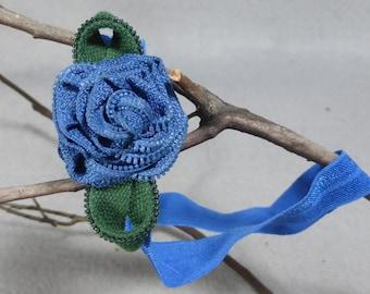 Blue Flower Headband - Zipper Flower -Upcycled -Recycled -Repurposed - Elastic Headband -Baby Headband -Womens Headband - Girls Headband