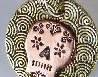Sugar Skull Dog Tag - Pet Tag - Day of the Dead - Dog ID Tag - Pet Accessories - Custom - Hand Stamped – Personalized – Copper and Brass