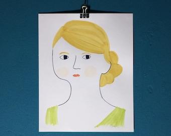 Hand painted portrait, custom portrait, illustrated portrait, gift for him, gift for her, a4 portrait