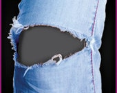Easy to apply Charcoal Grey patch goes INSIDE the hole