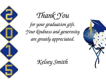 20 Personalized Graduation Thank You Cards w/envelopes