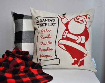 Christmas pillow cover, Christmas decor, Santa's Nice List, Merry Christmas pillow, Personalized Pillow