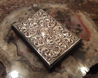 Vintage Sterling Silver Repoussé Leather Bound Address Book