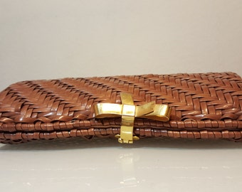 FREE  SHIPPING  Vintage Designer Woven wicker Clutch