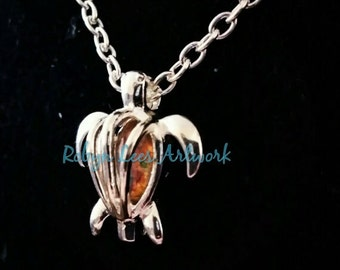 Silver Turtle Bead Cage Necklace with Pink Glass Fire Opal Teardrop Crystal on Silver Chain