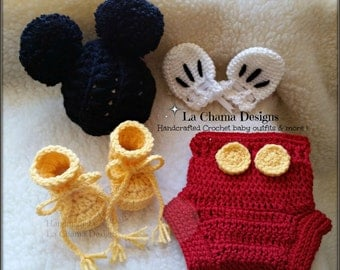 Crochet Mickey Mouse Outfit. Baby Mickey Mouse outfit. Baby boy outfit. Mickey Mouse shorts baby boy handcrafted outfit. Mickey hat outfit.