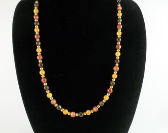Glass Beaded Necklace Autumn and Gold