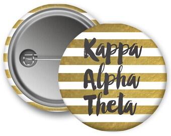 KAO Kappa Alpha Theta Stripe Sorority Button