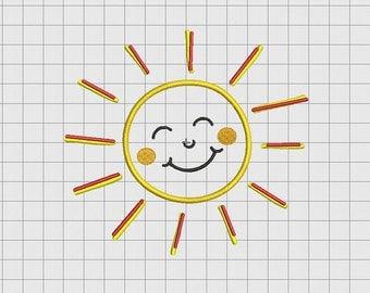 Sun Smile Rays Applique Embroidery Design in 3x3 4x4 5x5 and 6x6 Sizes